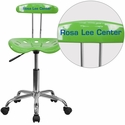 Personalized Vibrant Spicy Lime and Chrome Swivel Task Chair with Tractor Seat