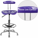 Personalized Vibrant Violet and Chrome Drafting Stool with Tractor Seat [LF-215-VIOLET-EMB-VYL-GG]