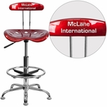 Personalized Vibrant Wine Red and Chrome Drafting Stool with Tractor Seat [LF-215-WINERED-EMB-VYL-GG]