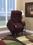 Two Way Petite Reclining Power Lift Chair with Matching Arm and Headrest Covers - Aaron Berry Fabric [1555P-AABE-FS-MEDL]