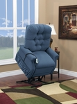 Two Way Petite Reclining Power Lift Chair with Matching Arm and Headrest Covers - Aaron Williamsburg Blue Fabric [1555P-AAW-FS-MEDL]