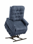 Two Way Petite Reclining Power Lift Chair with Matching Arm and Headrest Covers - Encounter Blue Fabric [1555P-EBL-FS-MEDL]