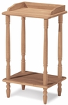 Traditional Solid Parawood 12''W X 25''H Phone Stand with Storage Shelf - Unfinished [OT-94-FS-WHT]