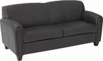 OSP Furniture Pillar Faux Leather Sofa with Cherry Finish Legs - Espresso [SL2573U1-FS-OS]