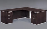 Pimlico Flat Pack 66'' W Left Executive L Desk with White Modesty Panel - Mocha [7020-28WGFP-FS-DMI]