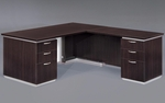 Pimlico Flat Pack 66'' W Right Executive L Desk with White Modesty Panel - Mocha [7020-27WGFP-FS-DMI]
