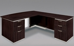 Pimlico Flat Pack 72'' W Bow Front Right Executive L Desk with White Modesty Panel - Mocha [7020-47BWGFP-FS-DMI]