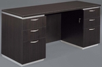 Pimlico Flat Pack Kneehole Credenza with Flat Ends - Mocha [7020-215FP-FS-DMI]