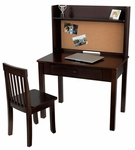 Kids Wooden Writing and Study Desk with Bulletin Board Hutch, Display Shelf and Matching Chair - Espresso [27150-FS-KK]