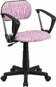 Pink and White Zebra Print Swivel Task Chair with Arms