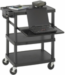 27.75'' W x 18.75'' D x 34.75'' H Plastic Multimedia Projector Cart - Black [8929BL-FS-SAF]