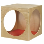 Birch Hardwood Three Solid Panels Playhouse Cube with Three Circular Cutouts and Foam Floor Mat [ELR-17506-ECR]