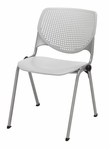 2300 KOOL Series Stacking Poly Armless Chair with Perforated Back and Silver Frame - Light Grey [2300-P13-IFK]