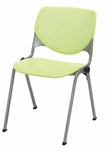 2300 KOOL Series Stacking Poly Armless Chair with Perforated Back and Silver Frame - Lime Green [2300-P14-IFK]