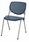 2300 KOOL Series Stacking Poly Armless Chair with Perforated Back and Silver Frame - Navy [2300-P03-IFK]