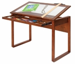 Ponderosa Clear Tempered Glass and Solid Wood Drafting Table with Storage Drawer - Sonoma Brown [13280-FS-SDI]