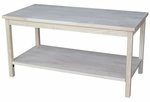 Portman Solid Parawood 36''W X 18''H Coffee Table with Display Storage Shelf - Unfinished [OT-44-FS-WHT]