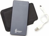Power Bank Portable Charger with Dual-Ports and Top Grain Nappa Leather Storage Case - Black