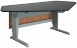 Power-Lift Science Workstation with 1'' Thick Black Epoxy Resin Top - 96''W x 50''D x 28''H - 40''H [2976K-DW]