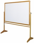 Premiere Series Reversible Mobile MLC Markerboard with Wood Frame - 48''W x 74.5''H [MLC153-CLA]