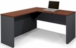 Prestige + L-Shaped Workstation with Scratch and Stain Resistant Finish - Bordeaux and Graphite [99420-1139-FS-BS]