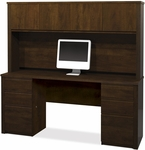 Prestige + Credenza and Hutch Set with Modesty Panel and Wire Management - Chocolate [99851-69-FS-BS]