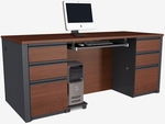 Prestige + Executive Desk Set with Keyboard Shelf and CPU Platform - Bordeaux and Graphite [99850-39-FS-BS]