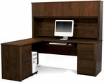 Prestige + L-Shaped and Hutch Assembly with Keyboard Shelf and CPU Platform - Chocolate [99852-69-FS-BS]
