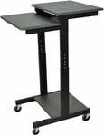 Steel Frame Height Adjustable Mobile Presentation Workstation with 3 Laminate Shelves - Gray - 24''W x 31''D x 39''- 45''H [PS3945-FS-LUX]