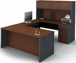 Prestige + U-Shaped and Hutch Assembly with Keyboard Shelf and CPU Platform - Bordeaux and Graphite [99853-39-FS-BS]
