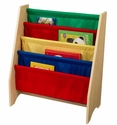 Kids Book Display Bookshelf with Four Canvas Sling Shelves - Primary