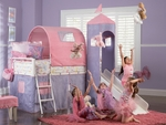 Princess Castle Twin Size Tent Bed with Slide [374-069-FS-PO]