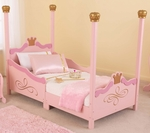 Princess Themed Wooden Low Height Toddler Bed with Built in Safety Bed Rails - Pink [76121-FS-KK]