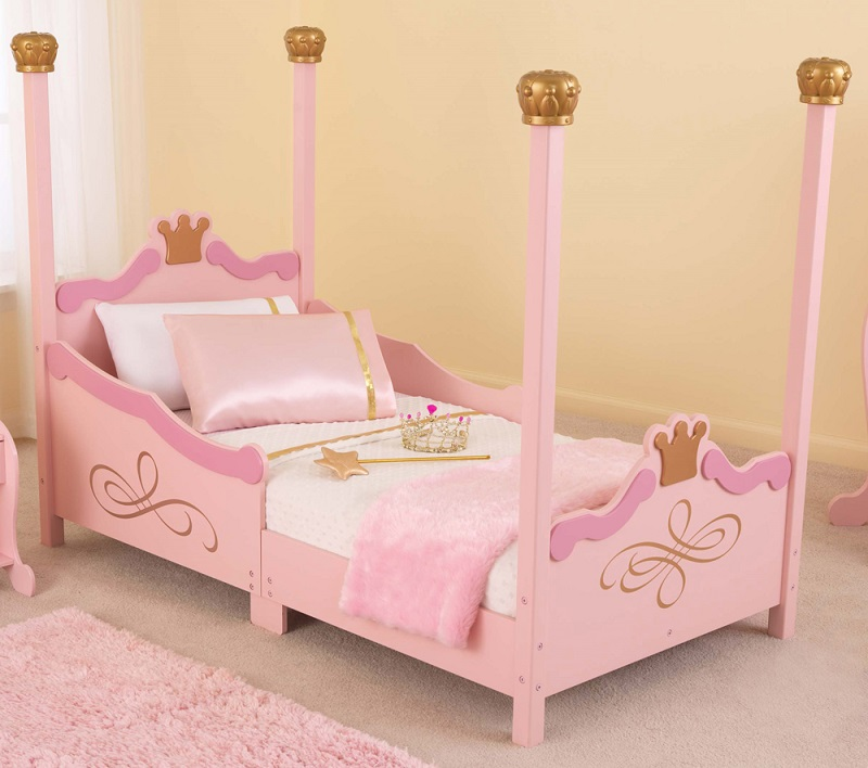 Princess Themed Wooden Low Height Toddler Bed With Built