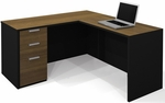Pro-Concept L-Shaped Workstation with Locking Drawers - Milk Chocolate Bamboo and Black [110850-98-FS-BS]