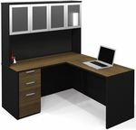 Pro-Concept L-Shaped Workstation with High Hutch and Drawers - Milk Chocolate Bamboo and Black [110852-98-FS-BS]