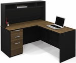 Pro-Concept L-Shaped Workstation with Small Hutch and Drawers - Milk Chocolate Bamboo and Black [110851-98-FS-BS]