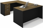 Pro-Concept U-Shaped Workstation with Drawers - Milk Chocolate Bamboo and Black [110853-98-FS-BS]