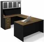 Pro-Concept U-Shaped Workstation with High Hutch and Drawers - Milk Chocolate Bamboo and Black [110855-98-FS-BS]
