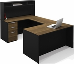 Pro-Concept U-Shaped Workstation with Small Hutch and Drawers - Milk Chocolate Bamboo and Black [110854-98-FS-BS]