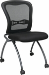 Pro-Line II Deluxe Armless Folding Chair with ProGrid® Mesh Back and Casters - Set of 2 - Black [84220-30-OS]