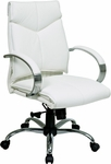 Pro-Line II Deluxe Mid Back Executive Leather Office Chair with Padded Chrome Arms and Base - White [7271-FS-OS]