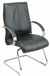 Pro-Line II Deluxe Visitors Leather Chair with Chrome Base and Padded Arms - Black [8205-FS-OS]