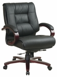 Pro-Line II Mid-Back Executive Leather Chair with Mahogany Base and Padded Arms - Black [8501-FS-OS]