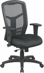 Pro-Line II Breathable ProGrid® High Back Chair with Adjustable Padded Seat and Arms - Black [90662-FS-OS]