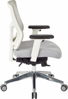 pro-line ii progrid white mesh mid back office chair with 2-way