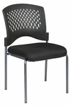 Pro-Line II Titanium Finish Armless Visitors Stack Chair with Plastic Wrap Around Back - Black [8620-OS]
