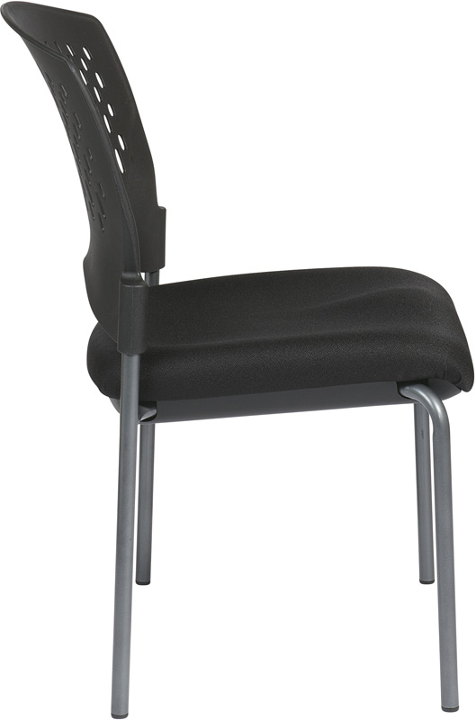 Pro Line Ii Titanium Finish Armless Visitors Stack Chair With Plastic Wrap Around Back 8620 By