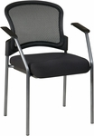 Pro-Line II Titanium Finish Visitors Stack Chair with Mesh Back and Padded Fabric Seat - Black [86710-30-OS]