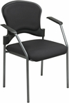 Pro-Line II Upholstered Contour Back Stacking Visitors Chair with Arms and Titanium Finish Frame - Black [82710-30-OS]
